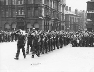 208 Squadron March Past RAF Thanksgiving Dy 1941. Salute taken by GOC Northern Command
