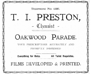 Fig.7 Advert for Preston's shop (1930)