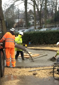Pouring the cement for the base