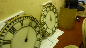 A couple of the clock faces awaiting restoration